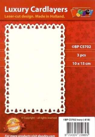 Christmas Tree Border 10 x 15cm Card Layers - Doodey